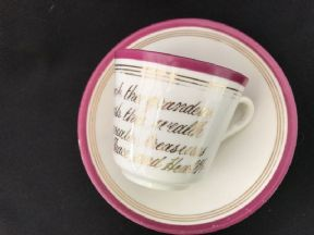 Victorian 'Motto' cup & saucer (3)